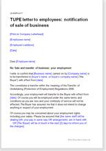 TUPE Letter To Employees On Sale Of Business