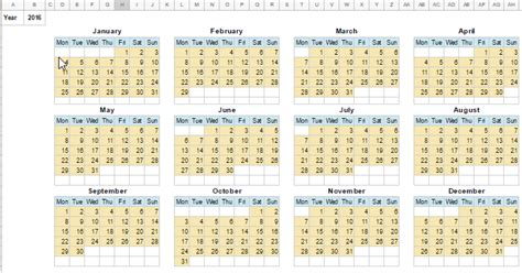 Calendar Template in Google Sheets (Monthly and Yearly)