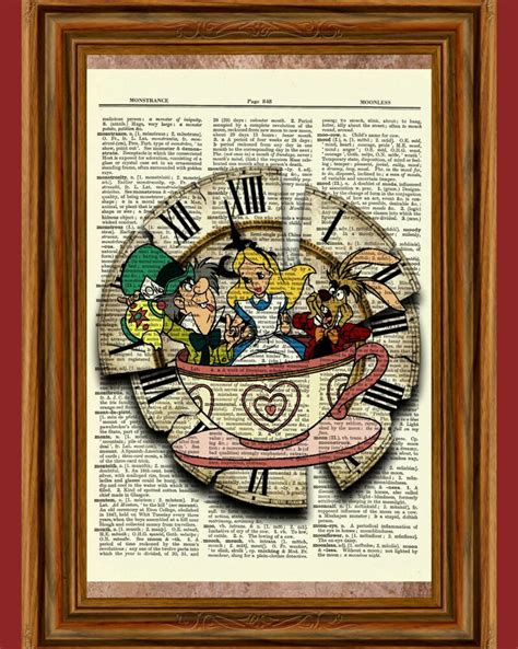 Alice in Wonderland Dictionary Art Print Picture Poster