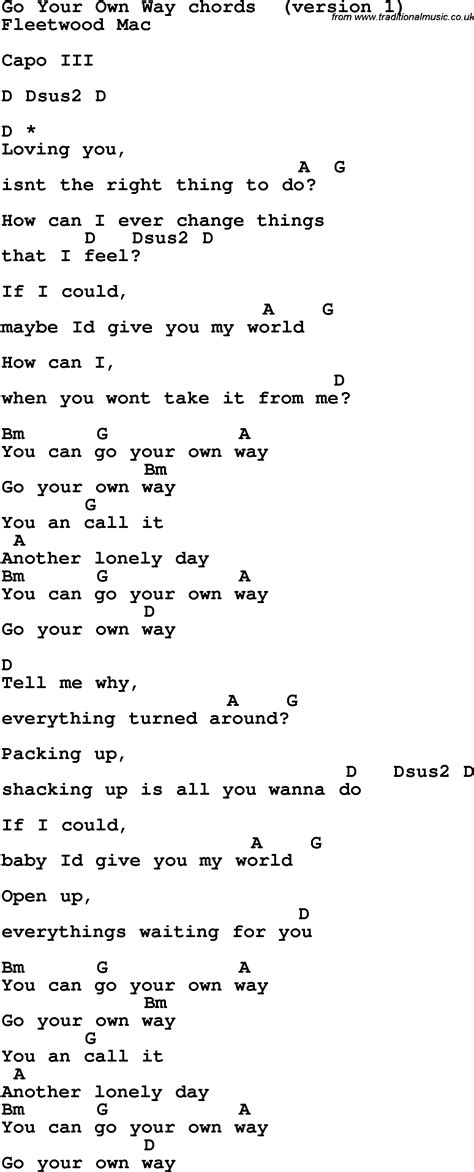 Song lyrics with guitar chords for Go Your Own Way