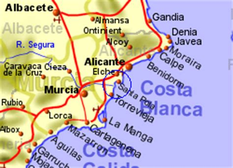 Map of the La Marina area, normal view