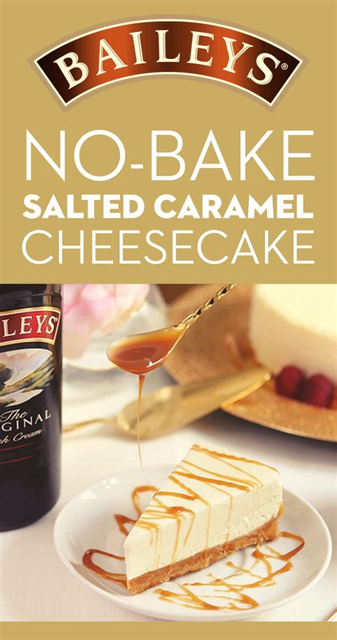 This no-bake, salted caramel-topped Baileys cheesecake is