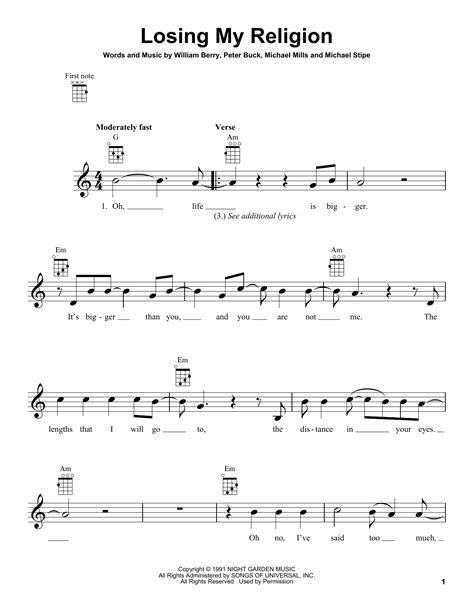 Losing My Religion sheet music by R