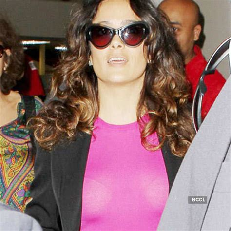 Actress Salma Hayek spotted wearing a hot pink see-through