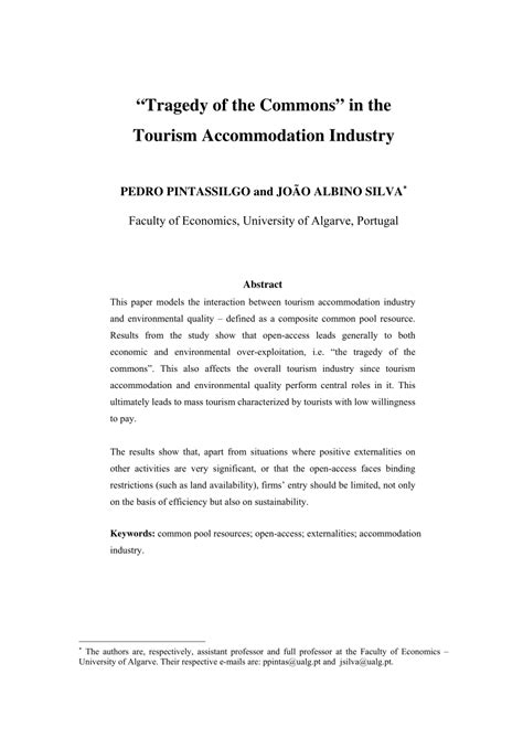 (PDF) 'Tragedy of the Commons' in the Tourism