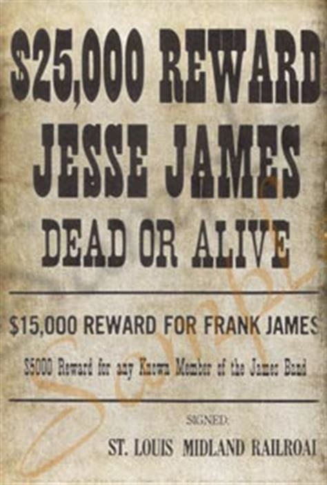 25000 For Jesse James Poster - The Last Best West